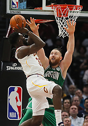 October 17, 2017 - Cleveland, OH, USA - The Cleveland Cavaliers' Jeff Green scores over the Boston Celtics' Aron Baynes in the third quarter on Tuesday, Oct. 17, 2017, at Quicken Loans Arena in Cleveland. (Credit Image: © Leah Klafczynski/TNS via ZUMA Wire)