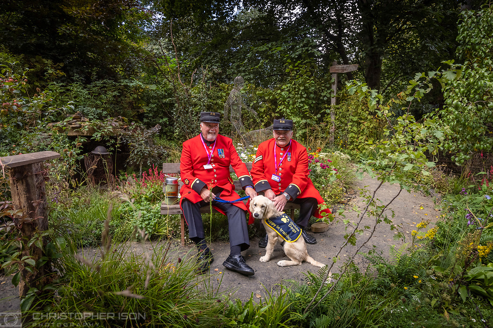 Chelsea pensioners David Hewitt and Ted Heath in the Artisan Garden with puppy Chelsea at RHS Chelsea  created this year in celebration of 90 years of guide dog partnerships in Britain. The garden has been created this year in celebration of 90 years of guide dog partnerships in Britain. Chelsea is 18 weeks-old and named to celebrate the event.<br /> Picture date: Monday September 20, 2021.<br /> Photograph by Christopher Ison ©<br /> 07544044177<br /> chris@christopherison.com<br /> www.christopherison.com