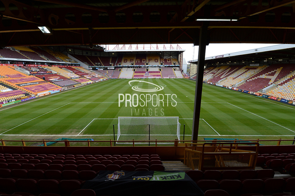 General view inside the Utilita Energy Stadium during the EFL Sky Bet League 2 match between Bradford City and Scunthorpe United at the Utilita Energy Stadium, Bradford, England on 1 May 2021.