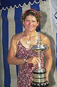 Henley. England. Open Women's Single sculls winner - Guin Batten, Thames RC. 2001 Henley Women's Henley  Regatta, Henley Reach. United Kingdom. [Mandatory Credit: Peter Spurrier / Intersport Images] 20010623 Women's Henley Regatta.