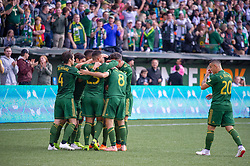 November 4, 2018 - Portland, OR, U.S. - PORTLAND, OR - NOVEMBER 04: Portland Timbers celebrate Sebastián Blanco's (10) goal during the Portland Timbers first leg of the MLS Western Conference Semifinals against the Seattle Sounders on November 04, 2018, at Providence Park in Portland, OR. (Photo by Diego Diaz/Icon Sportswire) (Credit Image: © Diego Diaz/Icon SMI via ZUMA Press)