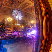 Fireworks over Liberty Memorial viewed from inside Union Station at the Memorial Day weekend 2012 Celebration At The Station concert.