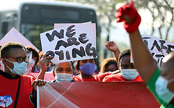 SOUTH AFRICA - Durban - 02 July 2020 -  Nursing Staff at Durban's Inkosi Albert Central Hospital in Durban, which has had over 40 employees test positive for Covid-19, embarked on protest action on Thursday demanding to meet the hospital management.<br /> Picture: Motshwari Mofokeng/African News Agency (ANA)