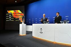 NYON, SWITZERLAND - Friday, July 10, 2020: UEFA Deputy General Secretary Giorgio Marchetti (L) and former Bayern Munich player Thomas Helmer during the UEFA Champions League and UEFA Europa League 2019/20 draws for the Quarter-final, Semi-final and Final at the UEFA headquarters, The House of European Football. (Photo Handout/UEFA)