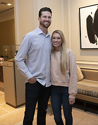 March 27, 2019 - Arlington, Virginia, U.S. - New York Mets starting pitcher Jacob deGrom (48) and his wife, Stacey following a press conference on his new five-year contract extension at the Ritz-Carlton Hotel in Arlington, Virginia on Wednesday, March 27, 2019. According to reports, the contract duration is five years, with a sixth-year team option and, if completed, will be with $170 million. It includes a full no-trade clause and an opt-out after the 2022 season  (Credit Image: © Ron Sachs/CNP via ZUMA Wire)