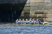 Mortlake/Chiswick, GREATER LONDON. United Kingdom. Quintin BC. MasF.8+, competing at the 2017 Vesta Veterans Head of the River Race, The Championship Course, Putney to Mortlake on the River Thames.<br /> <br /> <br /> Sunday  26/03/2017<br /> <br /> [Mandatory Credit; Peter SPURRIER/Intersport Images]
