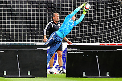 02.09.2015, Commerzbanarena, Frankfurt, GER, UEFA Euro 2016 Qualifikation, Deutschland, Training, im Bild Torwart Marc-Andre ter Stegen und Torwart-Trainer Andreas Koepke, Reaktionstraing mit abpraller von der Holzwand // during a training session of german national football team in front of the UEFA European Championship Qualifier matches against Poland and Scotland. Commerzbanarena in Frankfurt, Germany on 2015/09/02. EXPA Pictures © 2015, PhotoCredit: EXPA/ Eibner-Pressefoto/ Roskaritz<br /> <br /> *****ATTENTION - OUT of GER*****
