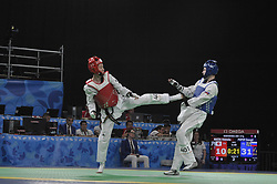 October 9, 2018 - Buenos Aires, Buenos Aires, Argentina - IDETAKA MAEDA of Japan and GEORGI POPOV of Russia compete during the MenÂ«s Takewondo -55kg competition  on Day 2 of the Buenos Aires 2018 Youth Olympic Games at the Olympic Park. (Credit Image: © Patricio Murphy/ZUMA Wire)