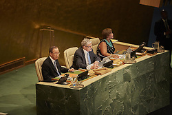 September 13, 2016 - New York, New York, United States - H.E. Mr. Mogens Lykketoft, President of the 70th session of the United Nations General Assembly. Delivers final words at closing session in UN headquarters, New York. (Credit Image: © Mark Joseph Sullivan/Pacific Press via ZUMA Wire)