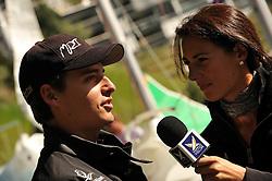 Hannah White interviews Mirsky at the St Moritz Race. Photo:Chris Davies/WMRT