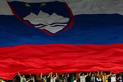 Big Slovenian flag at the opening ceremony and opening friendly football match at a new stadium in Stozice between National teams of Slovenia and Australia on August 11, 2010 in Ljubljana. Slovenia defeated Australia 2-0. (Photo by Vid Ponikvar / Sportida)