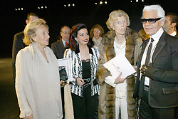 (l to r) Bernadette Chirac, Mrs Rafic Hariri, Madame Claude Pompidou and German fashion designer Karl Lagerfeld after the Chanel Spring-Summer 2005 Haute-Couture Fashion show held in Paris-France on January 25, 2005. Photo by ABACA