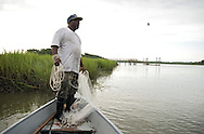 Ed Atkins is the last member of the Gullah Geechee nation to practice the traditional method of catching live bait with a casting net. His father founded Atkins bait shop, which is famous for its live bait, near Beaufort, SC. His son Ed has carried on the tradition. He will often wake up at 3 am to cast for bait in the Spartina marshes.