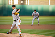San Francisco Giants starting pitcher Matt Cain (18) pitches against the Oakland Athletics at Oakland Coliseum in Oakland, California, on July 31, 2017. (Stan Olszewski/Special to S.F. Examiner)