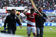 Fabio of Middlesbrough does the ' ayatollah' towards the Swansea fans as he leaves with an injury. Fabio used to play for Cardiff city and Cardiff fans appreciate the gesture but he did it to wind up the Swansea fans, arch rivals of Cardiff city.. Premier league match, Swansea city v Middlesbrough at the Liberty Stadium in Swansea, South Wales on Sunday 2nd April 2017.<br /> pic by Andrew Orchard, Andrew Orchard sports photography.