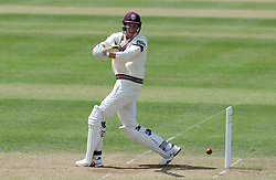 Somerset's Jamie Overton pulls the ball. Photo mandatory by-line: Harry Trump/JMP - Mobile: 07966 386802 - 26/05/15 - SPORT - CRICKET - LVCC County Championship - Division 1 - Day 3 - Somerset v Yorkshire - The County Ground, Taunton, England.