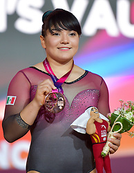 Alexa Moreno of Mexico poses with his bronze medal on the podium after winning the Women's Vault  Final at the 48th Gymnastics World Championships in Doha, capital of Qatar, Nov. 02, 2018. Alexa Moreno won the bronze medal with 14.508  (Credit Image: © Yangyuanyong/Xinhua via ZUMA Wire)