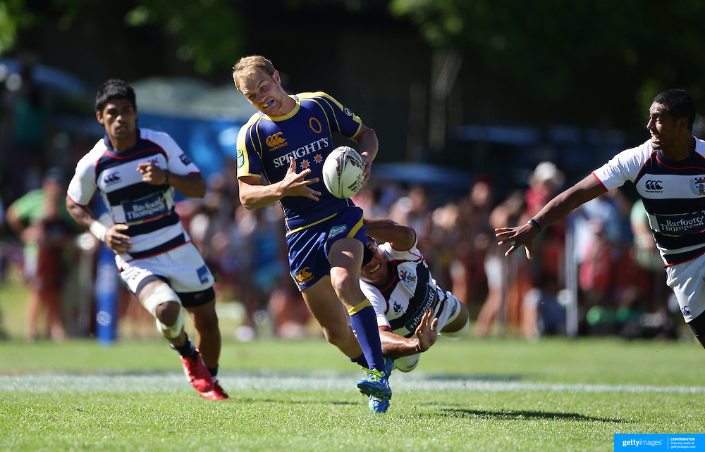 Matt Fades, Otago, in action in the final against Auckland during the Pub Charity Rugby Sevens 2012 New Zealand tournament at the Queenstown Recreation Ground, Queenstown, Otago, New Zealand. 8th January 2012. Photo Tim Clayton