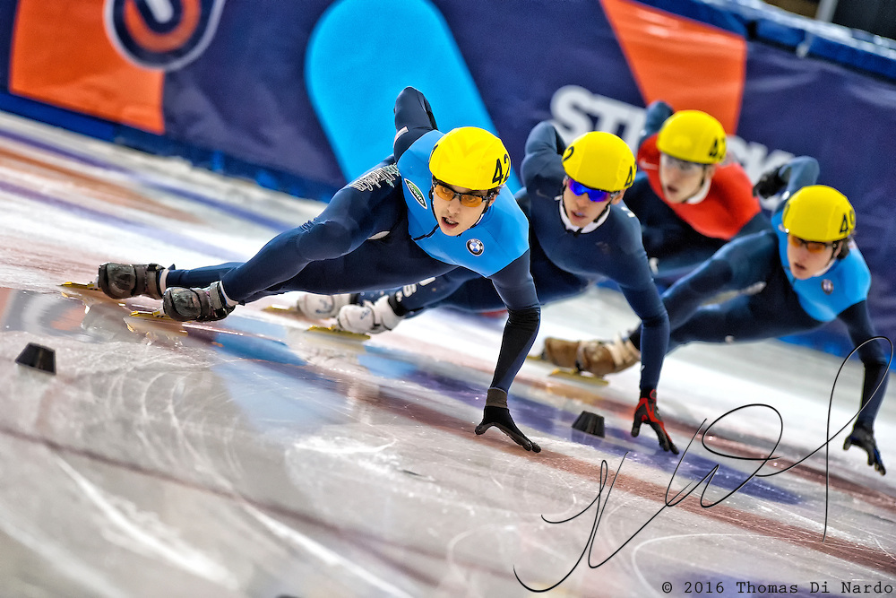 January 8, 2012 - Kearns, UT - Kyle Carr competes in the 1000m event during the US Short Track Speedskating Championships held at the Utah Olympic Oval.