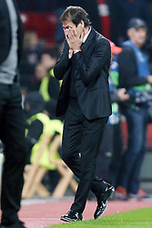 20.10.2015, BayArena, Leverkusen, GER, UEFA CL, Bayer 04 Leverkusen vs AS Roma, Gruppe E, im Bild Rudi Garcia (Trainer, AS Rom) // during UEFA Champions League group E match between Bayer 04 Leverkusen and AS Roma at the BayArena in Leverkusen, Germany on 2015/10/20. EXPA Pictures © 2015, PhotoCredit: EXPA/ Eibner-Pressefoto/ Deutzmann<br /> <br /> *****ATTENTION - OUT of GER*****