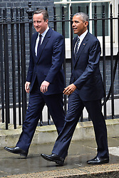 © Licensed to London News Pictures. 22/04/2016. BARAK OBAMA is met by DAVID CAMERON in Downing Street during the US President Obama's final State Visit to the United Kingdom. London, UK. Photo credit: Ray Tang/LNP