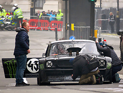 © London News Pictures. 13/03/2016.  London, UK. MATT LEBLANC takes part in filming for the new BBC Top Gear series in Whitehall, London. The new co-presenter performed stunts in a Ford Mustang around various parts of central London. LeBlanc is co-presenting the new series with Chris Evans. Photo credit: MrG/LNP , cenotaph, parliament, houses of parliament, downing street, George Osborne,