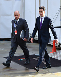 © Licensed to London News Pictures. 03/10/2012. Manchester, UK Leader of the Labour Party Ed Miliband (right) arrives on Day 5 at The Labour Party Conference at Manchester Central today 3rd october 2012. Photo credit : Stephen Simpson/LNP
