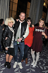 Left to right, JAIME WINSTONE, JAMES SMALL, ANNABEL NEILSON and SUKI WATERHOUSE at a party hosted by Vauxhall Motors to celebrate their collaboration with menswear designer James Small following his Autumn/Winter 2012 show during London Fashion Week held at Corinthia Hotel, London on 22nd February 2012.
