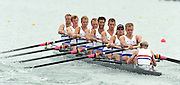 St Catharines, Ontario, CANADA 1999 World Rowing Championships. GBR M8+ Bow Bob THATCHER, Ben HUNT-DAVIS, Fred SCARLETT, Louis ATTRILL, Luka GRUBOR, Kieran WEST, Tim FOSTER, Steve TRAPMORE and cox Rowley DOUGLAS. [Mandatory Credit Peter Spurrier Intersport Images] 1999 FISA. World Rowing Championships, St Catherines, CANADA