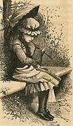 Small girl reading. Engraving, 1886