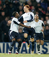 JAMES COLLINS  (R) celebrates with NIGEL REO-COKER after scoring the equaliser<br /> <br /> PORTSMOUTH V WEST HAM PREMIERSHIP 26.12.05 <br /> <br /> PHOTO SEAN RYAN FOTOSPORTS INTERNATIONAL