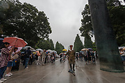 Older Japanese men in Imperial Army uniforms march as Yasukuni shrine marks the 72nd anniversary of the end of the Pacific War. Yasukuni Shrine, Kudanshita, Tokyo Japan. Tuesday August 15th 2017. Nominally a event to honour Japan's war dead and call for continued peace, this annual gathering  at Tokyo's controversial Yasukuni  Shine also allows many Japanese nationalists to display their nostalgia for their Imperial past.Rightwing paramilitary groups, Imperial cos-players, politicians and many ordinary citizens come together at the shrine to march and wave flags. The day goes almost unreported in the mainstream Japanese media.