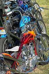 """A very colorful grouping of custom choppers all painted by the SoCal painter """"Harpoon"""" on day two of the Born Free Vintage Chopper and Classic Motorcycle Show at the Oak Canyon Ranch in Silverado, CA. USA. Sunday, June 29, 2014.  Photography ©2014 Michael Lichter."""
