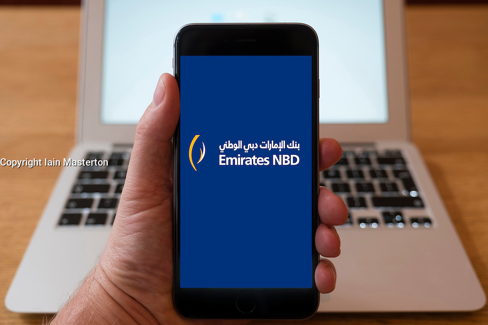 Using iPhone smart phone to display website logo of Emirates NBD from United Arab Emirates