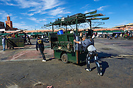 Food stalls being setb up in the Jemaa el-Fnaa square in  Marrakech, Morocco