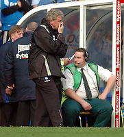 Photo: Leigh Quinnell.<br /> Birmingham City v Newcastle United. The Barclays Premiership. 29/04/2006. Birmingham manager Steve Bruce can't watch.