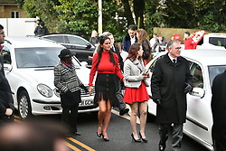 "© Licensed to London News Pictures. 13/02/2020. Sevenoaks, UK. The coffins and mourners make their way to St John the Baptist church in Sevenoaks, Kent for he funeral of traveller brothers Billy and Joe Smith. The twin brothers, who were made famous by the television programme ""My Big Fat Gypsy Wedding"", were found hanged in woodland three days after Christmas. Photo credit: Ben Cawthra/LNP"