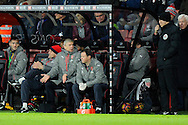 Arsenal manager Arsene Wenger gestures towards the 4th official to complain during the Premier League match between Bournemouth and Arsenal at the Vitality Stadium, Bournemouth, England on 3 January 2017. Photo by Graham Hunt.