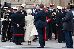 London, UK. 3 May, 2019. The Duke of Cambridge leaves Westminster Abbey following a National Service of Thanksgiving to mark fifty years of the Continuous at Sea Deterrent (CASD). Campaigners from Campaign For Nuclear Disarmament (CND), Stop the War Coalition, the Peace Pledge Union, the Quakers and other faith groups protested outside against the holding of the service throughout its duration.
