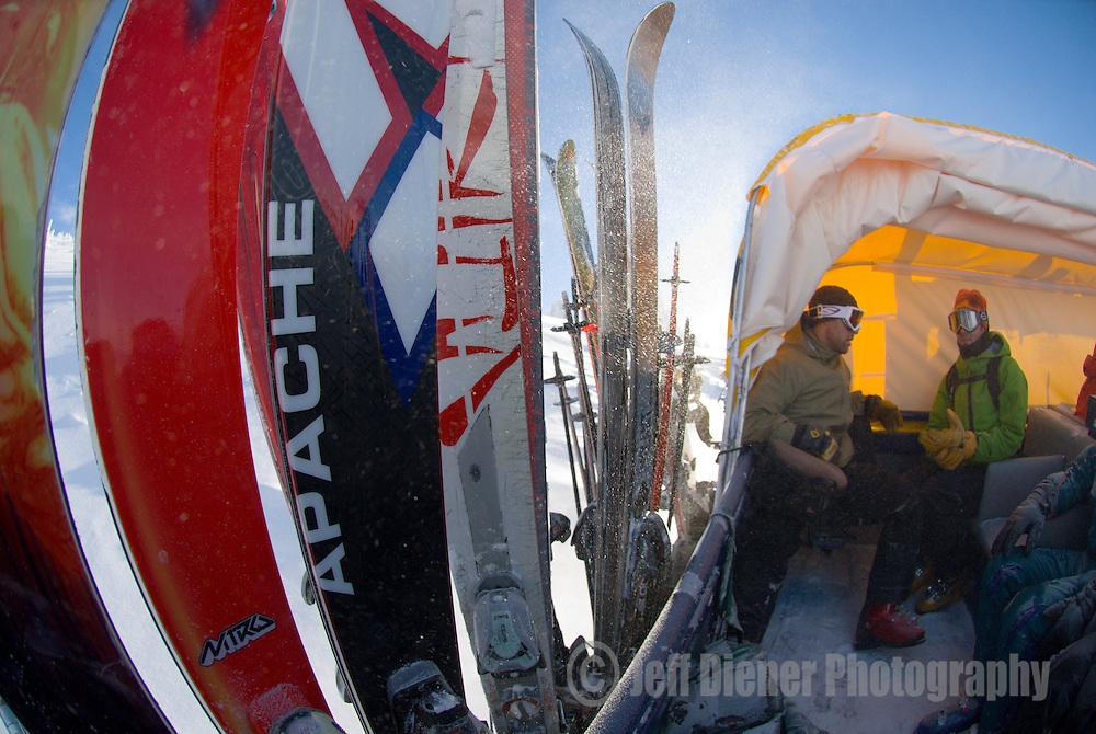 Snowcat skiing at Grand Targhee Resort, Wyoming.
