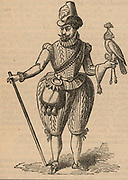 James I of England, VI of Scotland (1566-1625), in hawking costume holding a hooded bird.  Nineteenth century woodcut based on a contemporary image.