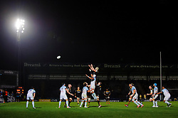 Wasps Flanker (#6) Ed Jackson wins a lineout during the second half of the match - Photo mandatory by-line: Rogan Thomson/JMP - Tel: 07966 386802 - 17/10/2013 - SPORT - RUGBY UNION - Adams Park Stadium, High Wycombe - London Wasps v Bayonne - Amlin Challenge Cup Round 2.