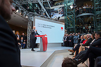 29 JAN 2016, BERLIN/GERMANY:<br /> Martin Schulz, SPD, Kanzlerkandidat, haelt seine Vorstellungsrede, Vorstellung von Schulz als Kanzlerkandidat der SPD zur Bundestagswahl, nach der Nominierung durch den SPD-Parteivorstand, Willy-Brandt-Haus<br /> IMAGE: 20170129-01-056<br /> KEYWORDS: Übersicht, Uebersicht