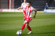 Ben Coker of Stevenage during the EFL Sky Bet League 2 match between Stevenage and Barrow at the Lamex Stadium, Stevenage, England on 27 March 2021.