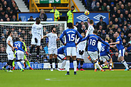 Gylfi Sigurdsson of Everton (18) sees his free kick go high and wide of the goal. Premier league match, Everton v Crystal Palace at Goodison Park in Liverpool, Merseyside on Saturday 10th February 2018. pic by Chris Stading, Andrew Orchard sports photography.