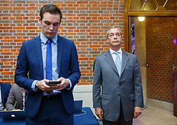 © Licensed to London News Pictures. 30/07/2015. London, UK. UKIP leader Nigel Farage gets ready to give a speech on how the No campaign can win the EU referendum at Emmanuel Centre in central London on Thursday, July 30, 2015. Photo credit: Tolga Akmen/LNP
