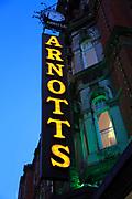 Arnotts department store shop sign at night, Dublin, Ireland, Republic of Ireland