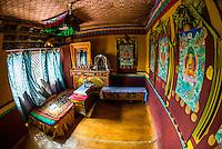 Stok Monastery, Leh Valley, Ladakh, Jammu and Kashmir State, India.