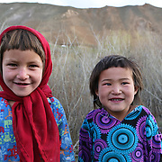 Two young Afghan girls in Panjab District, Bamyan Province, Afghanistan.