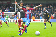 Adam Hammill of Scunthorpe United (47) and Kelvin Mellor of Bradford City (15) in action during the EFL Sky Bet League 1 match between Scunthorpe United and Bradford City at Glanford Park, Scunthorpe, England on 27 April 2019.